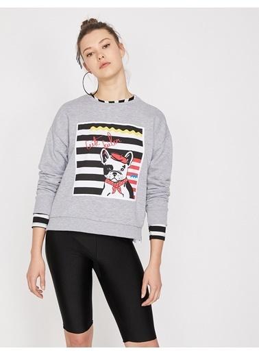 Koton Yazılı Baskılı Sweatshirt Gri